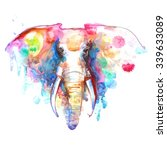 watercolor elephant portrait on ... | Shutterstock . vector #339633089