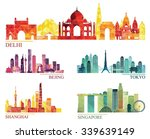 skyline detailed silhouette set ... | Shutterstock .eps vector #339639149