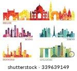 skyline detailed silhouette set ... | Shutterstock .eps vector #339639149