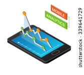 3d smartphone with graphs in... | Shutterstock .eps vector #339641729
