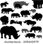 Rhino Silhouette Vector Set