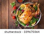 baked chicken stuffed with rice ... | Shutterstock . vector #339670364
