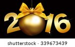 happy new year golden text with ... | Shutterstock . vector #339673439