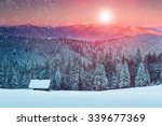colorful sunset in the winter... | Shutterstock . vector #339677369