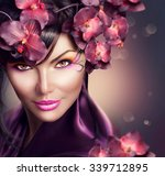 beautiful woman with orchid... | Shutterstock . vector #339712895