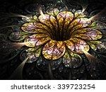 dark golden fractal flower ... | Shutterstock . vector #339723254