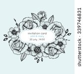 invitation card with flowers in ... | Shutterstock .eps vector #339746831
