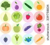 set of fresh healthy vegetables ... | Shutterstock .eps vector #339758834