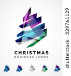 set of abstract christmas tree... | Shutterstock .eps vector #339761129