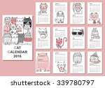 Stock vector calendar cute cats for every month vector isolated 339780797