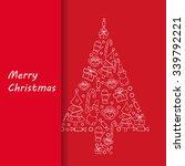 postcard merry christmas | Shutterstock .eps vector #339792221
