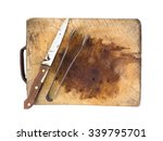 knife and tongs on a wooden... | Shutterstock . vector #339795701