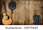 Cowboy Hat  Boots And Guitar...