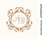 elegant floral monogram design... | Shutterstock .eps vector #339809669