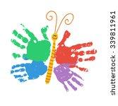 handprint butterfly smiling.... | Shutterstock .eps vector #339811961