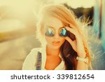 fashion portrait of beautiful... | Shutterstock . vector #339812654