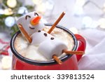 red mug with hot chocolate with ... | Shutterstock . vector #339813524