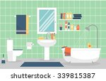 modern bathroom interior with... | Shutterstock .eps vector #339815387