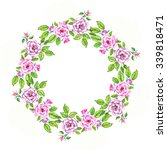 lovely watercolor wreath of... | Shutterstock . vector #339818471