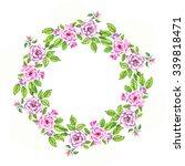 lovely watercolor wreath of... | Shutterstock . vector #339818471