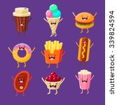 fun fast food. dishes with cute ... | Shutterstock .eps vector #339824594