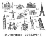 vector hand drawn travel icon... | Shutterstock .eps vector #339829547