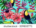 toucan  exotic birds  tropical... | Shutterstock .eps vector #339833771