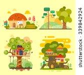 houses on the tree  magic hut... | Shutterstock .eps vector #339842924