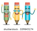 three funny pencil in a flat... | Shutterstock .eps vector #339845174