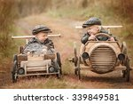 two boy racer at the start on... | Shutterstock . vector #339849581
