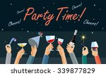 hands high up holding glasses... | Shutterstock .eps vector #339877829