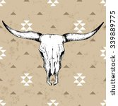 Bull Skull With Horns On Nativ...