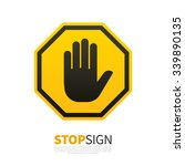 do not enter stop yellow sign... | Shutterstock .eps vector #339890135