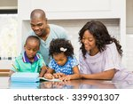 parents helping children doing... | Shutterstock . vector #339901307