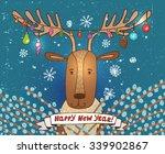 christmas joyful deer on a...