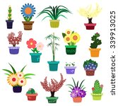 Vector Set Of Flowers And Hous...