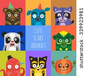 cute scary animals vector icons ... | Shutterstock .eps vector #339923981
