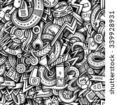 Cartoon hand-drawn sketchy doodles on the subject of car style theme seamless pattern. Vector trace background - stock vector