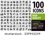 hiking set black icons. signs...   Shutterstock .eps vector #339943259