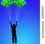 boy with balloons on blue sky | Shutterstock . vector #3399445