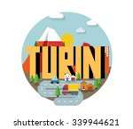 turin city in italy is a... | Shutterstock .eps vector #339944621