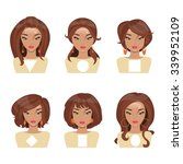 different face shapes and... | Shutterstock .eps vector #339952109