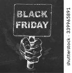 black friday sign on plate.... | Shutterstock .eps vector #339965891