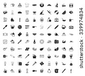 kitchen 100 icons set for web...   Shutterstock .eps vector #339974834