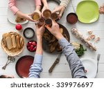 people having meal and clinking ... | Shutterstock . vector #339976697