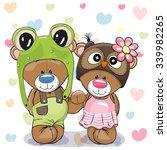 two cute cartoon bears in a...   Shutterstock .eps vector #339982265