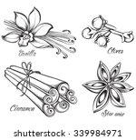 set of kitchen spices. vanilla  ... | Shutterstock .eps vector #339984971