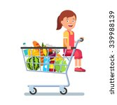 kid sitting in a supermarket... | Shutterstock .eps vector #339988139