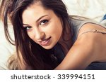 young woman portrait in bedroom ... | Shutterstock . vector #339994151