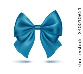 realistic blue bow. ribbon.... | Shutterstock .eps vector #340010651